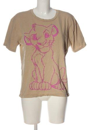 Zara U-Boot-Shirt creme-pink Motivdruck Casual-Look