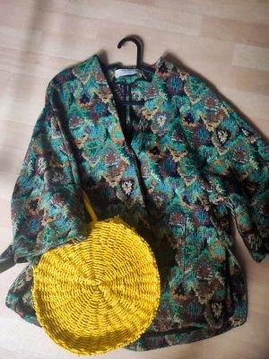 Zara Blazer in maglia blu cadetto-color cammello Tessuto misto