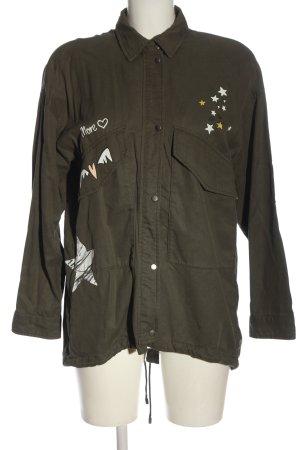 Zara Übergangsjacke khaki Motivdruck Casual-Look