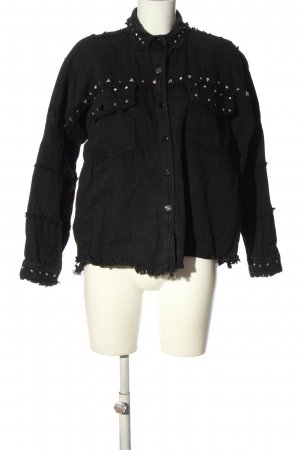 Zara Übergangsjacke schwarz-silberfarben Casual-Look