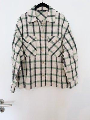 Zara Chemise de bûcheron crème-vert