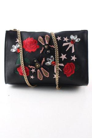 Zara Umhängetasche schwarz-rot Blumenmuster Casual-Look