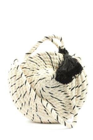Zara Umhängetasche wollweiß-schwarz Streifenmuster Casual-Look