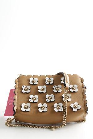 Zara Umhängetasche beige-wollweiß Blumenmuster Romantik-Look