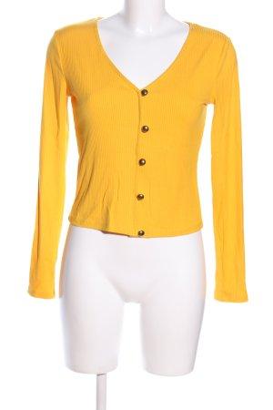 Zara V-Ausschnitt-Pullover blassgelb Streifenmuster Business-Look