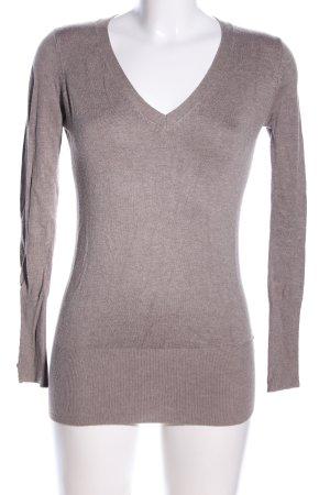 Zara V-Ausschnitt-Pullover braun meliert Casual-Look