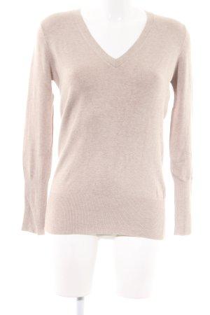 Zara V-Ausschnitt-Pullover wollweiß Allover-Druck Casual-Look