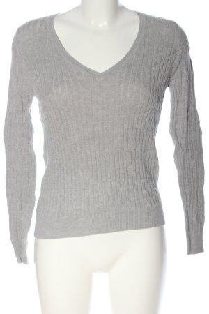 Zara V-Ausschnitt-Pullover hellgrau Casual-Look