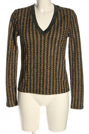 Zara V-Ausschnitt-Pullover schwarz-hellorange Allover-Druck Casual-Look