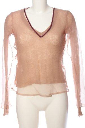 Zara V-Ausschnitt-Pullover nude Casual-Look