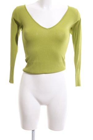 Zara V-Ausschnitt-Pullover khaki Casual-Look