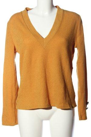Zara V-Ausschnitt-Pullover hellorange Casual-Look