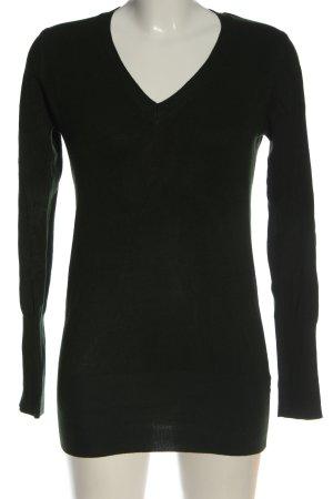 Zara V-Ausschnitt-Pullover schwarz Zopfmuster Casual-Look