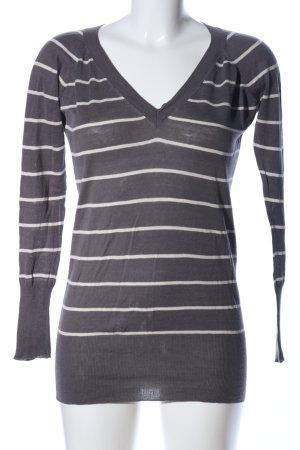 Zara V-Ausschnitt-Pullover hellgrau-wollweiß Streifenmuster Casual-Look