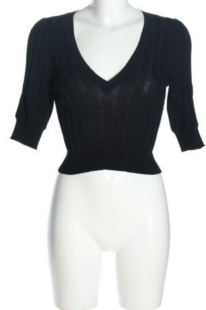 Zara V-Ausschnitt-Pullover schwarz-blau Streifenmuster Casual-Look