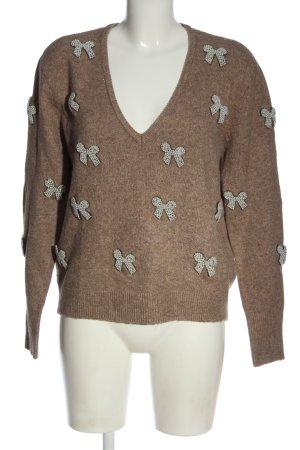 Zara V-Ausschnitt-Pullover braun-wollweiß meliert Casual-Look