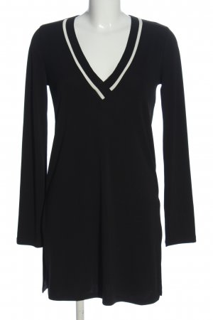 Zara V-Ausschnitt-Pullover schwarz-weiß Casual-Look