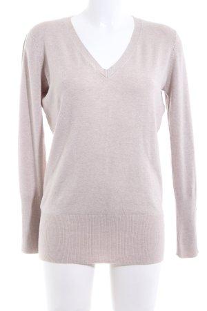 Zara V-Ausschnitt-Pullover wollweiß Casual-Look