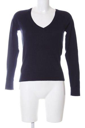 Zara V-Ausschnitt-Pullover blau Business-Look