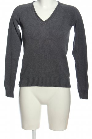Zara V-Ausschnitt-Pullover blau meliert Casual-Look