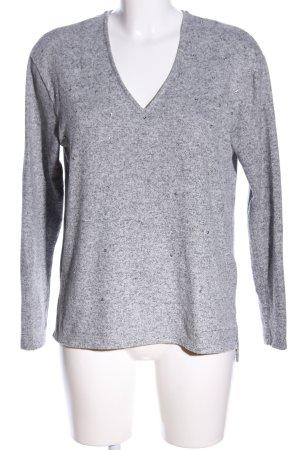 Zara V-Ausschnitt-Pullover hellgrau meliert Casual-Look