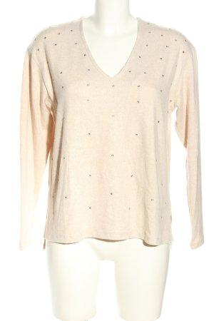 Zara V-Ausschnitt-Pullover creme Casual-Look