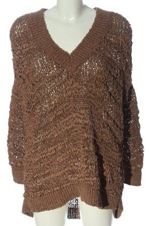 Zara V-Ausschnitt-Pullover braun Zopfmuster Casual-Look