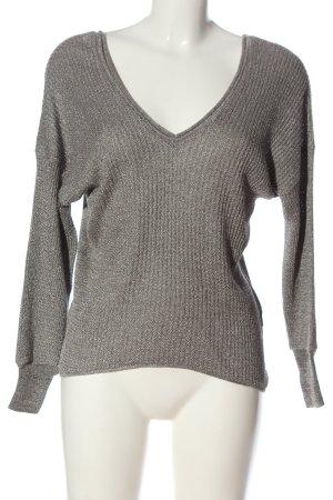 Zara V-Ausschnitt-Pullover hellgrau Zopfmuster Casual-Look