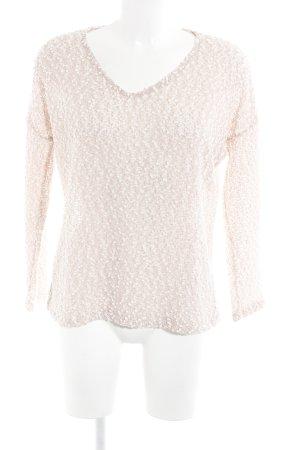 Zara V-Ausschnitt-Pullover altrosa-wollweiß Casual-Look