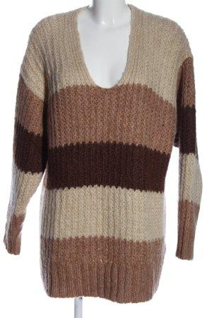 Zara V-Ausschnitt-Pullover Streifenmuster Casual-Look