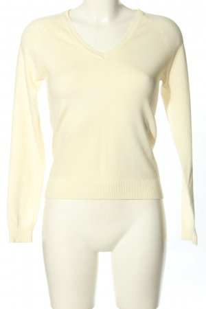 Zara V-Ausschnitt-Pullover blassgelb Casual-Look