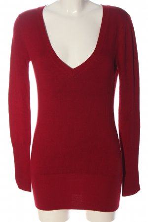 Zara V-Ausschnitt-Pullover rot meliert Casual-Look