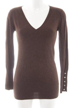 Zara V-Ausschnitt-Pullover braun Casual-Look
