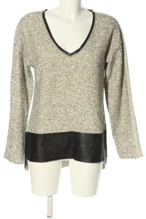 Zara V-Ausschnitt-Pullover schwarz-creme meliert Casual-Look