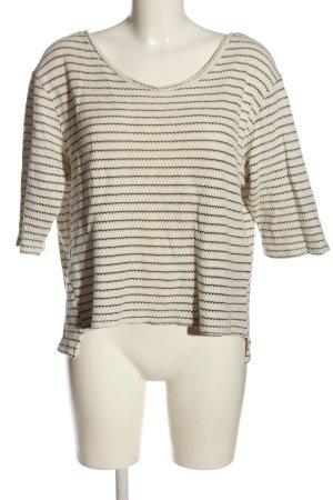Zara V-Ausschnitt-Pullover weiß-schwarz Streifenmuster Casual-Look