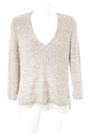 Zara V-Ausschnitt-Pullover creme 2in1-Optik
