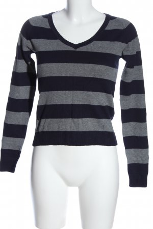 Zara V-Ausschnitt-Pullover hellgrau-blau meliert Casual-Look