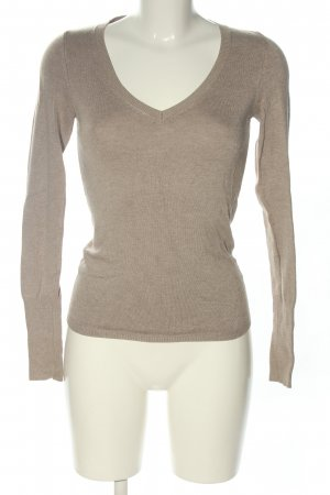 Zara V-Ausschnitt-Pullover creme meliert Casual-Look