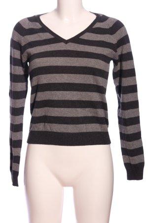 Zara V-Ausschnitt-Pullover hellgrau-schwarz meliert Casual-Look