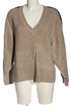 Zara V-Ausschnitt-Pullover wollweiß-schwarz Casual-Look