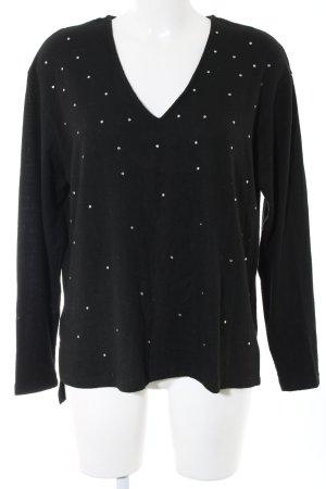 Zara V-Ausschnitt-Pullover schwarz Business-Look