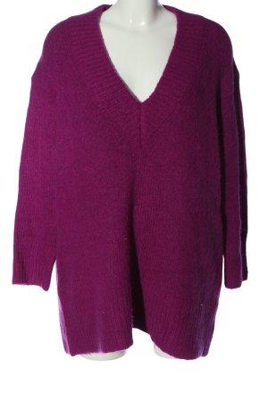 Zara V-Ausschnitt-Pullover lila meliert Casual-Look