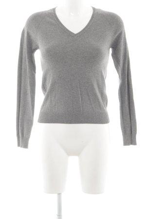 Zara V-Ausschnitt-Pullover hellgrau Business-Look