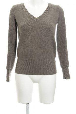 Zara V-Ausschnitt-Pullover graubraun Webmuster Casual-Look
