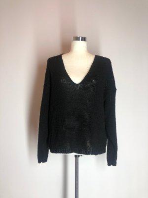 Zara V-Ausschnitt-Pullover, schwarz