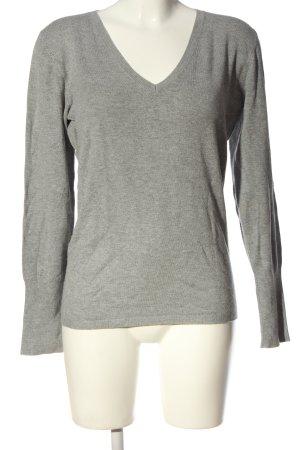 Zara V-Ausschnitt-Shirt hellgrau meliert Casual-Look