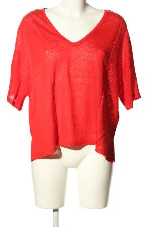 Zara V-Ausschnitt-Shirt rot Casual-Look