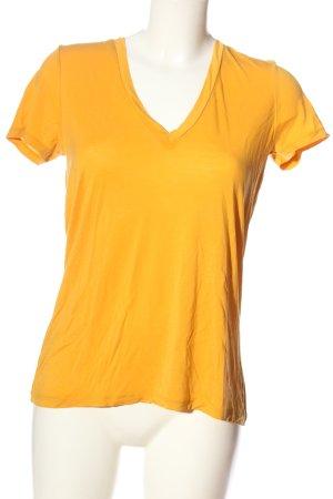 Zara V-Ausschnitt-Shirt blassgelb Casual-Look