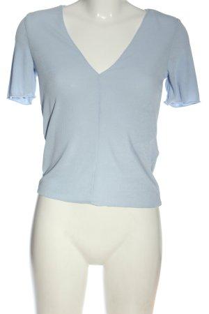 Zara V-Ausschnitt-Shirt blau Casual-Look