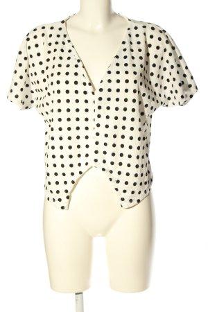 Zara V-Ausschnitt-Shirt wollweiß-schwarz Allover-Druck Business-Look